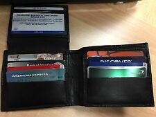 Mens Bifold Wallet Genuine Leather Black Credit/ID Card Holder Slim Purse