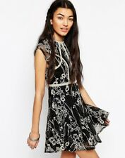 New $168 Free People Laurel Lace Dress In Black Combo Size 6