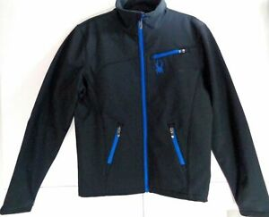 Spyder Ski Jacket Black Stratos Blue 10k/5k Mens Fresh Air Medium Fits Small NEW