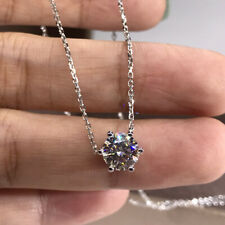 Solid 14k White Gold 1.0Carat 6.5mm Round DF Color Moissanite Pendant Necklace
