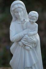 RE0437 FIGURINE STATUETTE VIERGE A L ENFANT BEBE MARIE BLANCHE 20 CM  RESINE