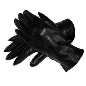 Black Leather Gloves Womens Winter Gloves Wool Soft Black Leather Gloves