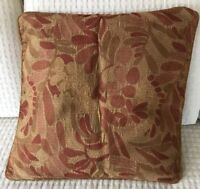 "Crate & Barrel Olivine Cayenne Throw Pillow Cover Sofa 20"" Flowers Velvet Piping"