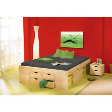 Bett 180x200 cm Doppelbett Stauraumbett Funktionsbett natur Rost Kiefer massiv