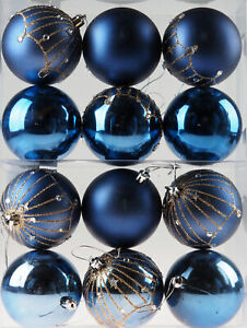 Great Gatsby Navy Blue Sparkle Christmas Tree Baubles Decorations (Set of 12)