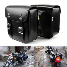 2Pcs PU Leather Motorcycle Motorbike SaddleBags Side Bags Metal Clasp Black