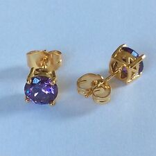 Hoop Sapphire Round Yellow Gold Filled Costume Earrings