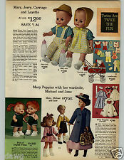 1966 PAPER AD Doll Mary Poppins Michael James Jointed Rooted Hair Italy Organdy