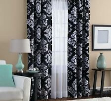 2 Home Decor Black and White Curtains, Classic Noir Window Set Panels Curtain
