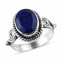 Boho Handmade Fashion Solitaire Ring Silver Lapis Lazuli for Women Ct 2.44