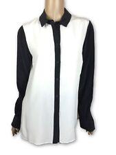 Cut25 by Yigal Azrouel New Sz 6 Silk Blouse Shirt White w/ Black Trim Long Sleev