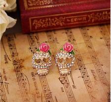 Vogue Charm Women Studs Pink Rose Skeleton Skull Rhinestone Ear Earrings Jewelry