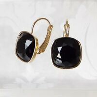 Jet Black Gold Plated Leverback Drop Earrings w/ Cushion Cut Swarovski Crystal