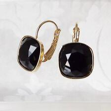Jet Black Gold Plated Leverback Drop Earrings w/ Cushion Cut Swarovski Crystal