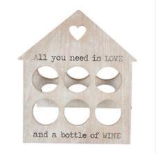 Sass & Belle Rustic House Kitchen Wooden Wine Bottle Holder Rack Chic Home Gift