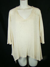 Anthropologie Everleigh Lace Swing Knit Sweater Top Cream Blouse NEW NWT Large L