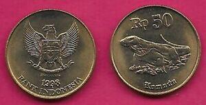 INDONESIA REP 50 RUPIAH 1998 UNC KOMODO DRAGON LIZARD(VARANUS KOMODOENSIS),NATIO