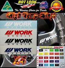 WORK WHEELS RIM Decals X4 JDM Drift Racing 90mm X 20mm All Colours Available
