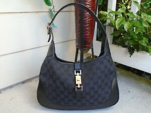 Auth GUCCI Jackie O Black Canvas and Leather Tote Shoulder Bag Purse