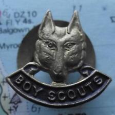 Vintage Boy Scout  Bronze Wolf Head Lapel Badge A