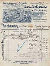 SCHWARZENBERG Sa., Rechnung 1909, Staubsauger-Fabrik Louis Krauss