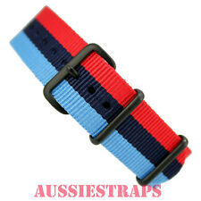 NATO® G10 BMW M Sport PVD black military diver's watch strap band 4 RING NYLON