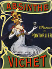 Girl Drinking Wine POSTER.Absinthe Vichet.Room Decor.French Art Nouveau.209