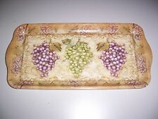 Melamine Tuscan Style Bread Tray Kathleen Denis Purple and Green Grapes Italian