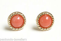 9ct Gold Coral stud Earrings Gift Boxed Studs Made in UK Christmas Xmas Gift