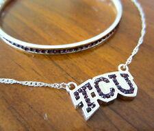 TEXAS CHRISTIAN TCU CRYSTAL PENDANT NECKLACE + BRACELET Horned Frogs jewelry set