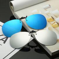 Black Grey Polarized Clip On Driving Glasses Sunglasses Day Vision UV400 Lens