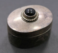 Sterling Silver Pill Box with Black Onyx