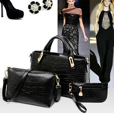 3PCS Women Lady Handbag Shoulder Crossbody Bag Tote Messenger Leather Purs Black