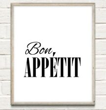 A4 Bon Appetit Typography Print Picture Quote Gift Kitchen Home Decor UNFRAMED