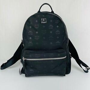 $625 MCM Stark Classic Black Nylon Monogram Logo Medium Backpack MUK7ADT10BK001