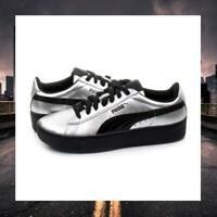 PUMA VIKKY FLATFORM PLATFORM TRAINERS PATENT METALLIC LEATHER 363609-02