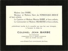 Remerciements après DC du Colonel Jean Barbe.Croix de guerre 14-18.
