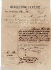 SPANISH COLONIAL DOCUMENT / ORDENACION DE PAGOS / ARECIBO PUERTO RICO / 1891 #2