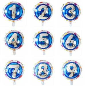 "18"" ROUND Number Foil Balloons Helium 0-9 BIRTHDAY PARTY AGE Balloon Silver Blue"