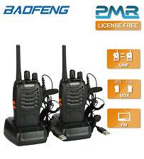 2x Baofeng PMR446 Walkie Talkies Long Range UHF Two Way Ham Radio with Earpieces