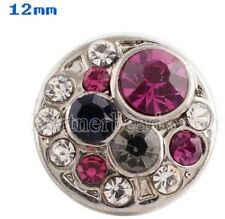 Pink Black Rhinestone 12mm Mini Petite Charm For Ginger Snaps Magnolia Vine