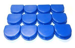 12 Dental Orthodontic Retainer Denture Mouth Guard Cases SET - Color Blue - USA