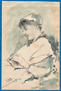 young girl ink wash painting & pencil drawing c 1890 by Dell'Acqua Austria