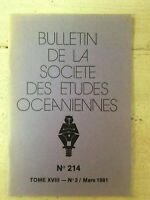 Bulletin de la Société des Etudes Océaniennes * N° 214 / Mars 1981