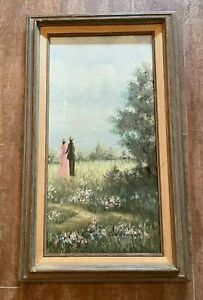 """Couple in meadow original painting 17 x 29"""" Jan Reynold framed picture trees"""