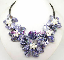 """natural white pearl & purple shell pearl 5 flower pendant necklace 18"""" long"""