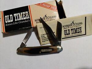 """Vtg Schrade Old Timer 1080T """"Junior"""" 3- Blade Pocket Knife USA MADE"""