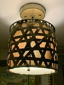 "Chic Contemporary Gold Woven Metal Strip Hanging Light Fixture - 8"" Diameter"