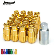 Racing Lug Nuts Aluminum 20PCS 12X1.5MM Open End Extenede Turner With Key Golden