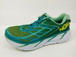 Hoka One One Clifton 3 Womens Running Shoe Size 8 W Tropical Green/Teal/Yellow